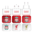 LIVERPOOL FC CREST LIVERBIRD WHITE US CHARGER USB CABLE FOR APPLE iPOD TOUCH MP3