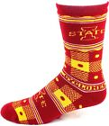 Iowa State Cyclones NCAA Cardinal Gold Quilt Plaid Crew Socks Name Ankle Logos
