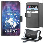 HAIRYWORM FUNNY UNICORN LEATHER WALLET FLIP PHONE CASE FOR HTC HUAWEI NOKIA