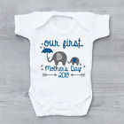 Our First 1st Mothers Day 2018 Mother's Day Baby Vest Elephants Baby Grow