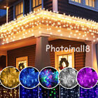 3M 96 LED Hanging Icicle Curtain Lights Outdoor Fairy Xmas S