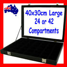 Glass Lid Jewellery Case   LARGE 40x30cm   24 or 42 Compartments   AUSSIE Seller