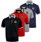Mens Short Sleeve Plain Zip Polo Shirt T Shirt Top Casual Cotton Rich S-XXL