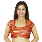 Ready-Made Designer Weaving Party Wear Red Indian Stitched Blouse Crop- Top