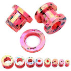 Pair Pink Candy Color Dots Acrylic Screw Ear Plugs Tunnel Expander Stretchers
