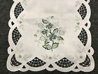 Gray Rose -White Embroidered Fabric Embroidery Cutwork Placemat Table Mat Runner