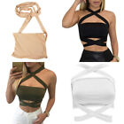 Womens Sexy Bandage Tank Tops Lace up Halterneck Cropped Top Vest Bra Bustier
