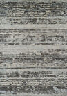 Gray Lines Banded Rows Bars Contemporary Area Rug Striped GA4