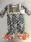 GIGGLE MOON Boutique Baby Romper Wall of Jasper Eve Longall Gray Ivory NWT $65