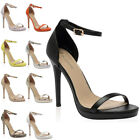 35N WOMENS STILETTO HIGH HEEL LADIES ANKLE STRAP OPEN TOE SANDALS SHOES SIZE 3-8