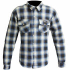 MERLIN AXE ZIP UP K.E.V.L.A.R. LINED MOTORCYCLE SUMMER RIDING SHIRT BLUE CREAM