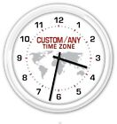 TIME ZONE - SILENT CUSTOM WALL CLOCK World Globe office business home GREAT GIFT
