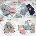 Women Girl Warm Reindeer Elk Deer Touch Screen Knitted Wool Gloves Mitten Warmer