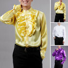 Men's Satin Long-Sleeved-Shirt-wedding-groom-groomsmen Photography Clothes Tops