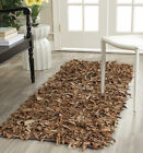 Safavieh Hand-Knotted Brown leather Shag Area Rug - LSG511K