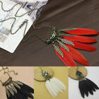 Vintage Bohemian Feather Leaf Tassel Pendant Long Chain Necklace Boho Jewelry