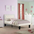 teen platform bed - Youth Kids Teen Full Platform Bed Tufted Crystal Headboard Light Bone PU Leather