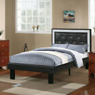 teen platform bed - Youth Kids Teen Full Platform Bed Tufted Crystal Headboard Ash Black PU Leather
