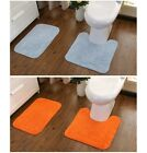 2PCS BATHROOM SET RUG CONTOUR MAT TOILET LID COVER PLAIN SOLID COLOR BATH MATS