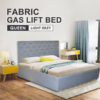 Gas Lift Storage Fabric Bed Frame Queen Beige SB010 Beige/Light grey/Dark Grey