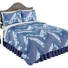 Monterry Blue Chevron Lightweight Quilt Set, Includes Quilt and Sham(s) image