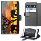HAIRYWORM THREE ELEPHANT SILHOUETTE SUNSET LEATHER WALLET PHONE CASE, FLIP CASE
