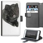 HAIRYWORM ANIMAL BLACK PUG PUPPY DOG LEATHER WALLET PHONE CASE, FLIP CASE, COVER