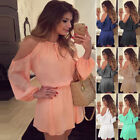 Womens Fashion Chiffon Blouse Sexy Off Shoulder Casual Shirt Dress Mini Jumpsuit