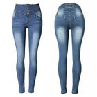 Women's High Waist Washed Denim Jeans Stretchy Skinny Legging Slim Pencil Pants