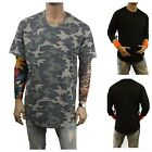 Men's Basic Extended Long T-Shirt Camouflage Crew Neck Fashion Hipster Baseball  image