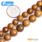 """Natural Yellow Silicified Wood Jasper Stone Round Beads for Jewelry Making 15"""""""
