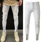 Men's Ripped Jeans Super Skinny Slim Fit Denim Pants Destroyed Frayed Trousers фото