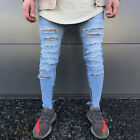 Men's Ripped Jeans Super Skinny Slim Fit Denim Pants Destroyed Frayed Trousers