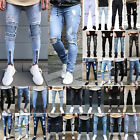light jeans - Men's Ripped Jeans Super Skinny Slim Fit Denim Pants Destroyed Frayed Trousers