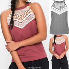 2018 Womens New Summer Casual Sleeveless Lace Panel Ms. T-shirt Vest Tops Blouse