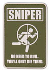NEW GREEN & WHITE SNIPER RUBBER MORALE PVC PATCH VELCRO® BRAND HOOK,TRF,DZ,IFF