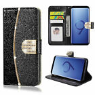 Bling Glitter Leather Flip Wallet Slim Card Case Cover for Samsung Galaxy S8 S9+ <br/> ✅FREE SCREEN PROTECTOR✅1st CLASS POST✅Card Holder Case✅