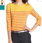 NWT Ann Taylor LOFT honey Yellow striped Puffy sleeves back zip Top Sz M