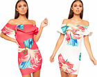 Womens Floral Print Layer Bardot Off Shoulder Stretch Bodycon Mini Dress Ladies