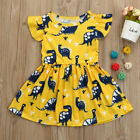 US Toddler Kid Baby Girl Short Sleeve Dinosaur Print Party Dress Outfits Clothes