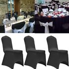 1/5/10PC Chair Cover Polyester Spandex Wedding University Decor Flat Front Black