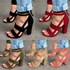 Summer Womens Fashion High Block Heel Open Peep Toe Lace Up Sandals Party Shoes