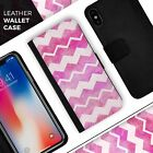 Pink Water Color with White Chevron iPhone Leather Credit Card Wallet Case