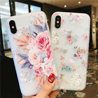 For iPhone XS 8 6 7 Plus Soft Clear Fllower Case Luxury Slim Relief Floral Cover