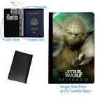 Yoda Star Wars Luggage Tag & Passport Holder Leather Travel Wallet Black NEW