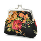 Women Small Wallet Bags Retro Flower Coin Change Purse Canvas Hasp Clutch Wallet