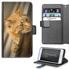 PEEPING CAT PHONE CASE, LEATHER WALLET FLIP CASE, COVER FOR SAMSUNG, APPLE, SONY