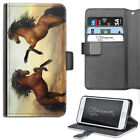 TWO HORSE REAR PHONE CASE, LEATHER WALLET FLIP CASE, COVER FOR SAMSUNG, APPLE