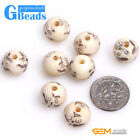 12mm Round Carved Paniting Bone Beads for Jewelry Making 16 Pcs Free Shipping