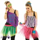 Adults Ladies Womens 1980s Retro Lace Tutu Kit Neon Disco Fancy Dress 80s Outfit